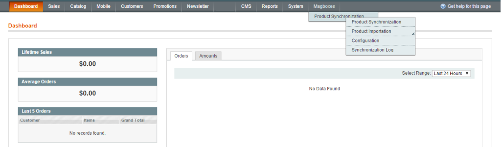 Magboxes Product Synchro Menu Admin Panel