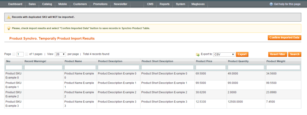 Magboxes Product Import Result Form