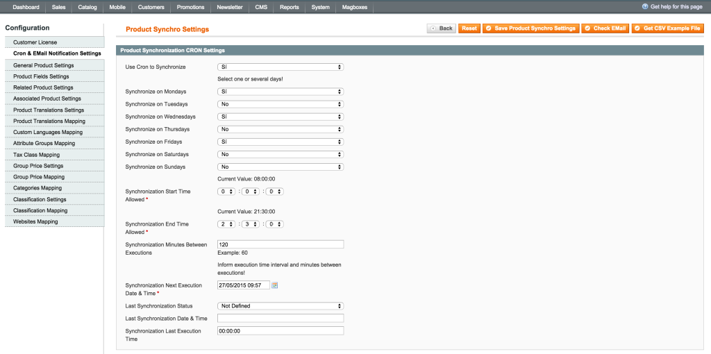 Magboxes Product Synchro Cron Settings