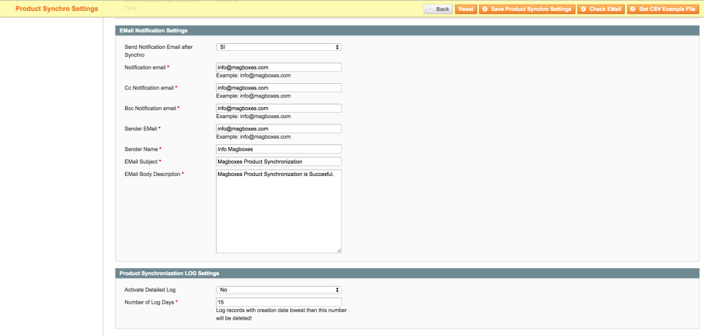 Magboxes Product Synchro Email & Log Settings
