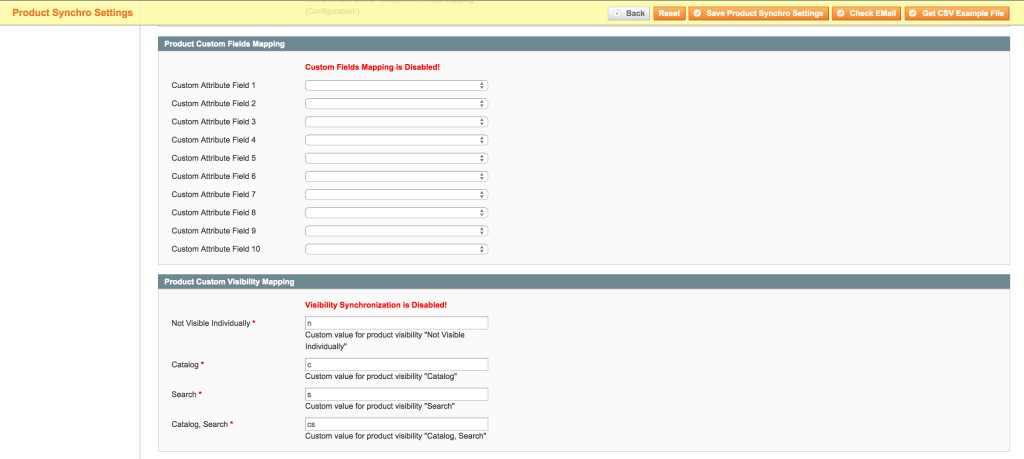 Magboxes Product Synchro Fields Product Settings