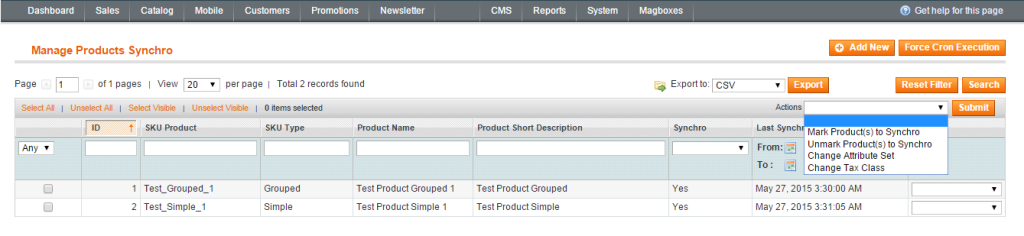 Magboxes Product Synchro Management