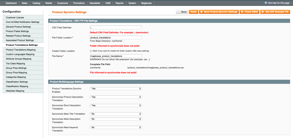 Magboxes Product Synchro Translations Product Settings