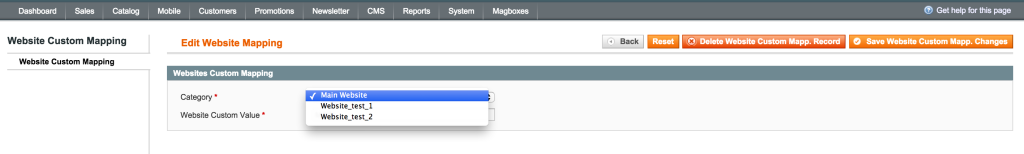 Magboxes Product Synchro Websites Mapping
