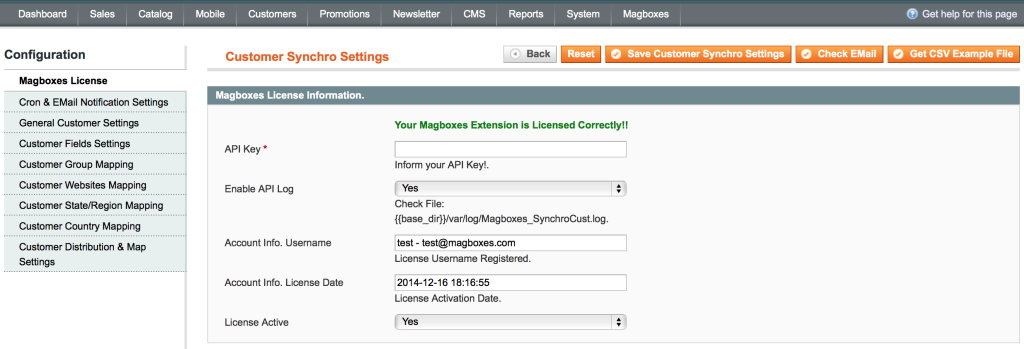 Magboxes Customer Synchro Configuration