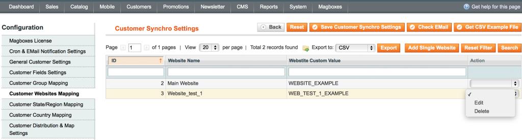 Magboxes Sincronización Cliente - Mapeo Web