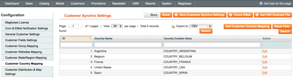Magboxes Customer Synchronization - Countries Mapping