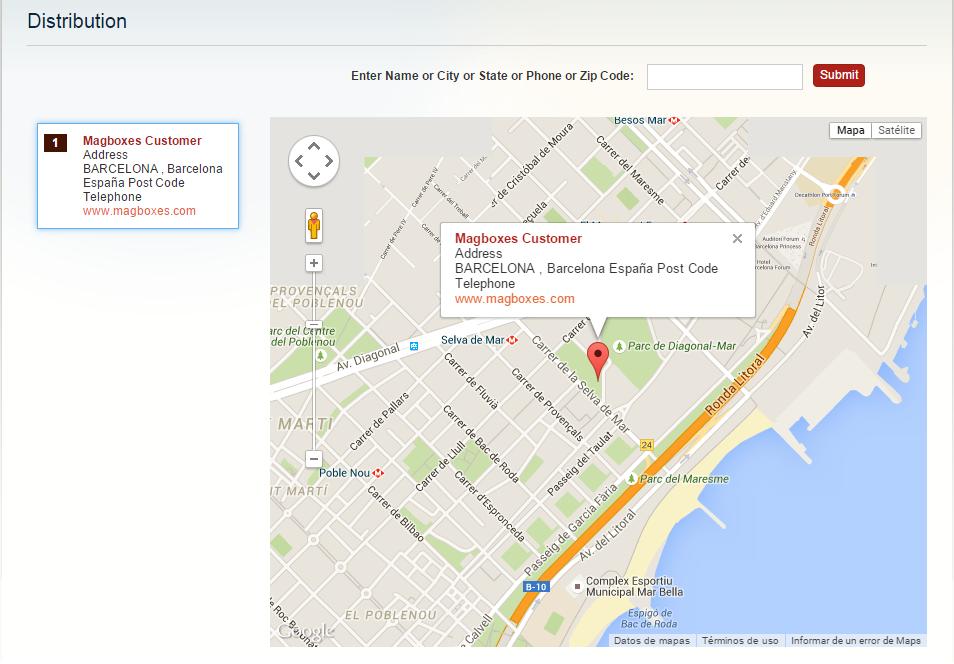 Magboxes Sincronización Cliente - Google Maps