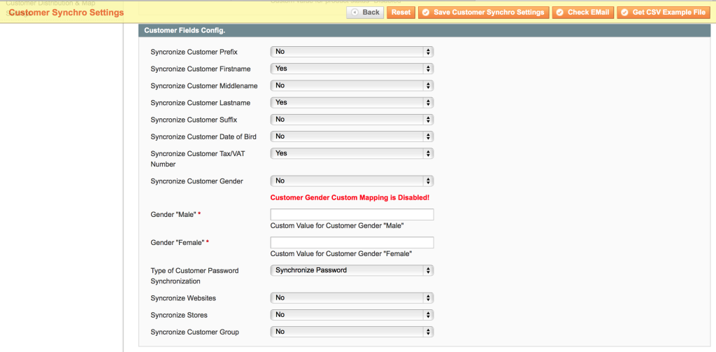 Magboxes Customer Synchronization - Standard and Custom Fields