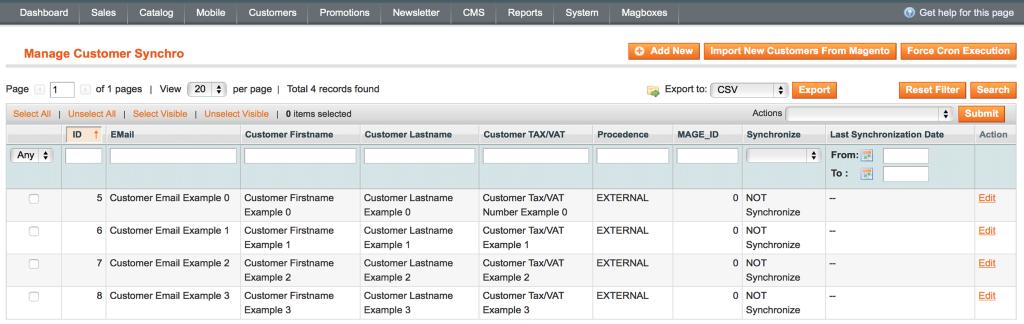 Magboxes Customer Synchro - Gestión Clientes.