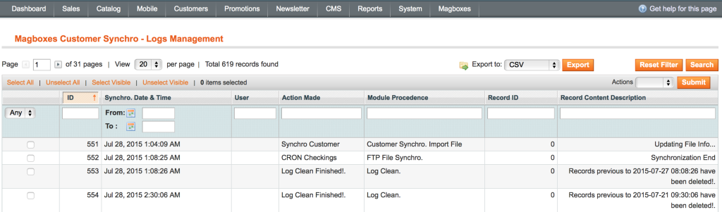 Magboxes Customer Synchro Log
